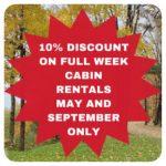 May & September 10% discount on full week rentals